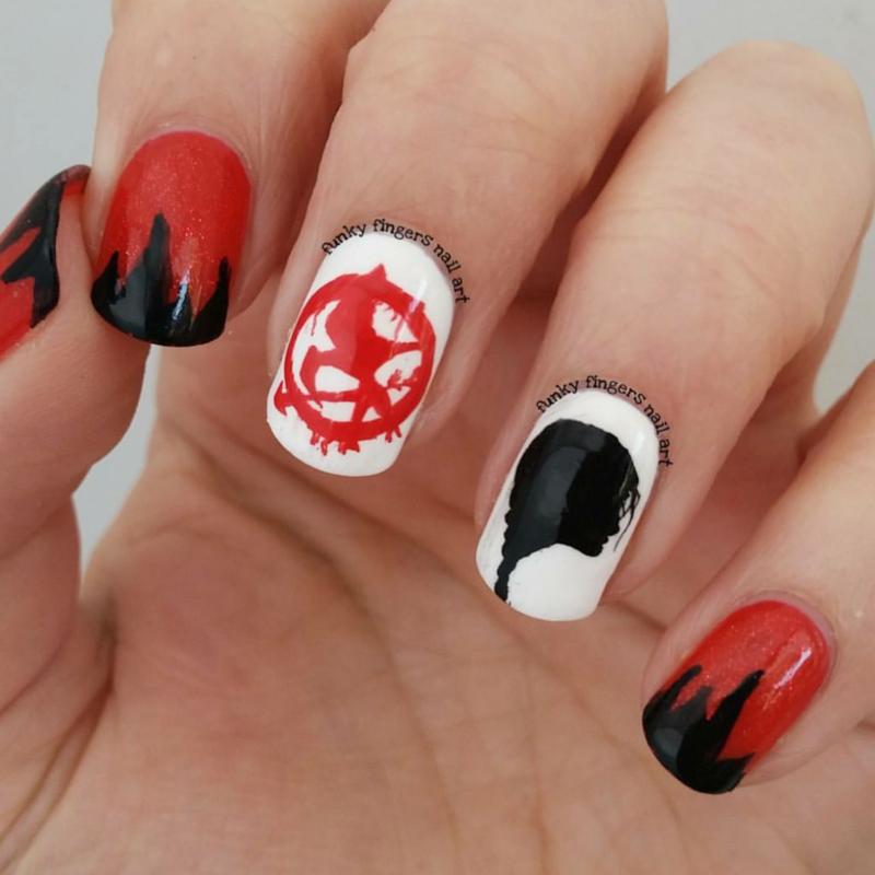 Hunger games nails nail art by Funky fingers nail art