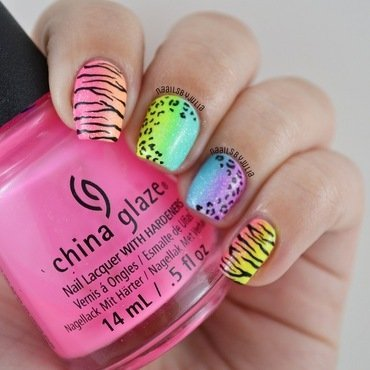 Neon animal prints nail art by Julia