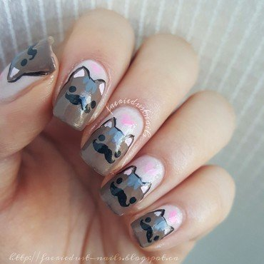 Mustache Cat Nails nail art by Shirley X.