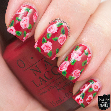 Love is in my cards red creme rose nail art 3 thumb370f