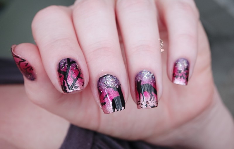 Mysterious Forest nail art by Pmabelle