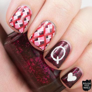 Ocean eleven plaid queen hearts nail art 4 thumb370f