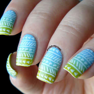 Pastel Aztec nail art by Ewlyn