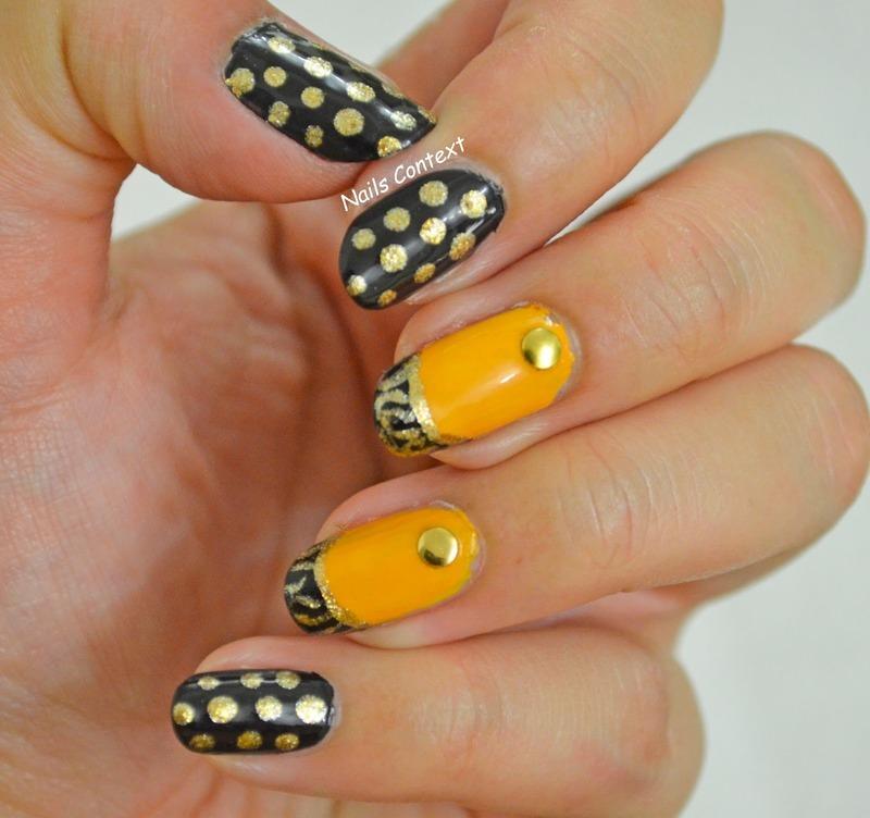 Mustard and Black  nail art by NailsContext