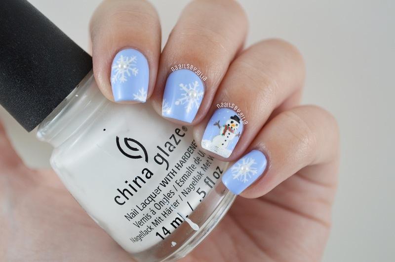 Snowman nail art by Julia