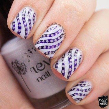 Purple monochrome stripe polka dot nail art 4 thumb370f