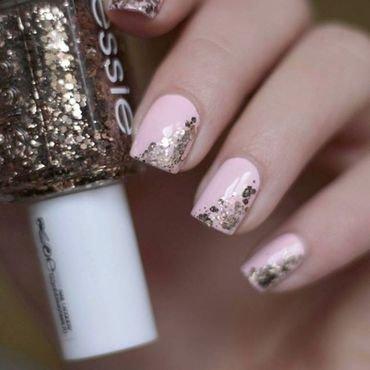 Pink + glitter nail art by Karola