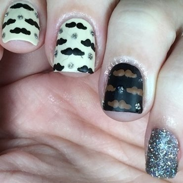 Mustache-icure nail art by Crystal Bond