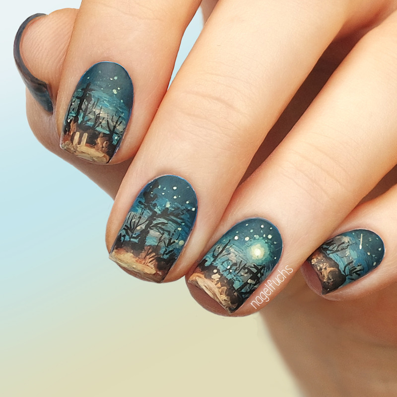 Nail Art Night: Desert Night Sky Nail Art By Nagelfuchs