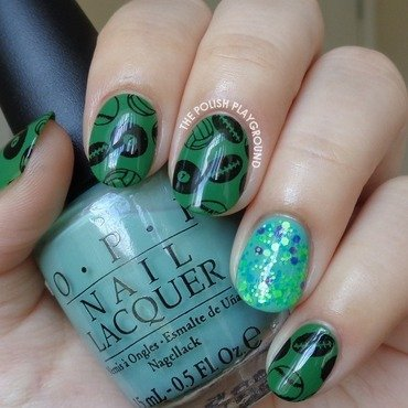 Sports Themed Stamping with Glitter Accent nail art by Lisa N