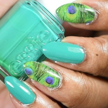Born Pretty Store Peacock Feather Water Decal nail art by glamorousnails23