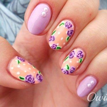 Vintage roses. nail art by Owidia