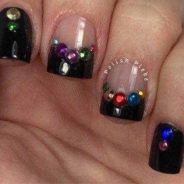 Multi Colored Rhinestone Black French Tim nail art by Crystal Bond