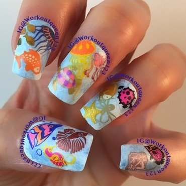 all the fishy under the sea nail art by Workoutqueen123
