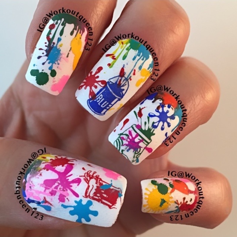 Splatter mani  nail art by Workoutqueen123