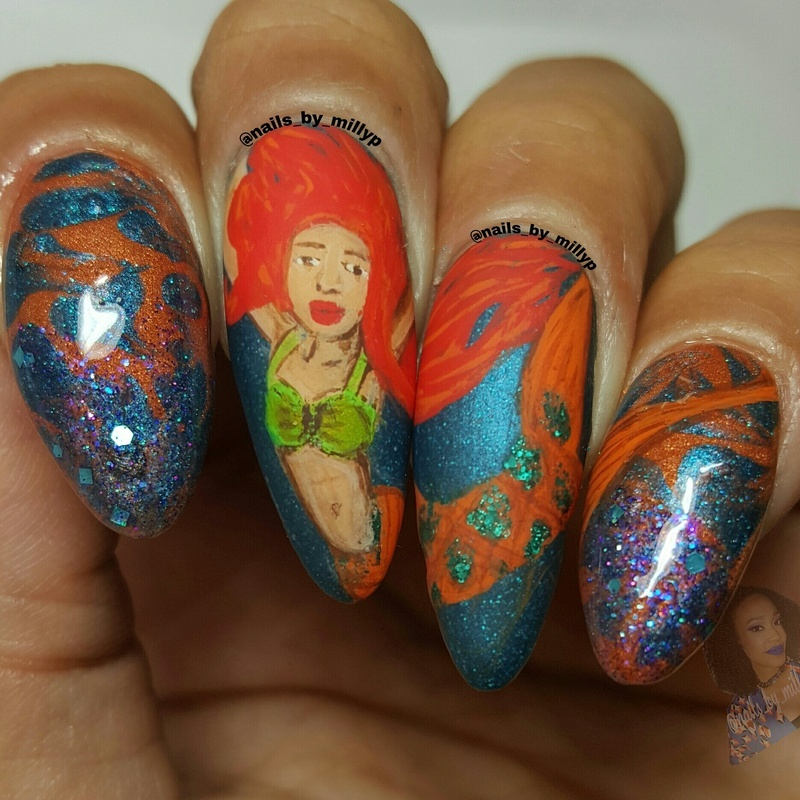 She's on Fire nail art by Milly Palma