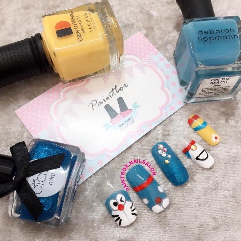 Doraemon Inspired Nails Nail Art By Paintbox Nail Salon Nailpolis