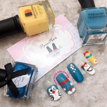 Doraemon inspired nails nail art by Paintbox Nail Salon