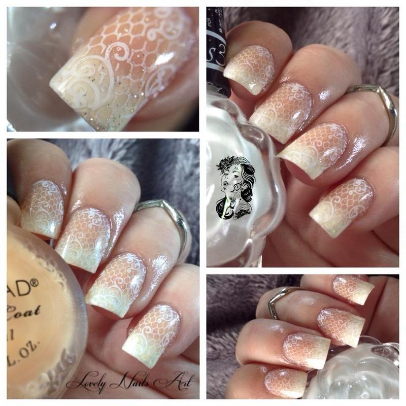 Nail art stamping babyboomer nail art by Lovely Nail's  Art