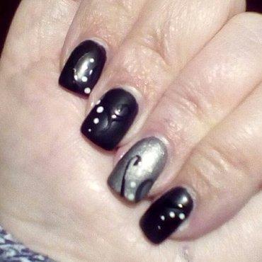 Black matte filagree nail art by upgirlcd