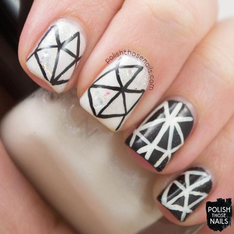Black & White Glass nail art by Marisa  Cavanaugh