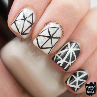 Black white mosiac glitter nail art 1 thumb370f