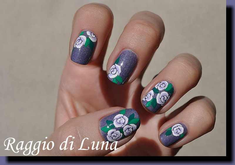 White roses on holo purple nail art by Tanja