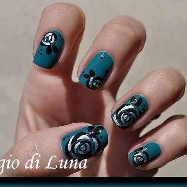 Black & silver rose on dark green nail art by Tanja