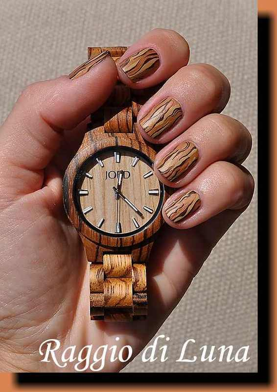 Jord wooden watch inspired manicure nail art by Tanja