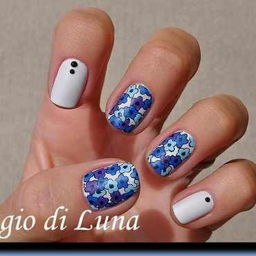 Stamping: Cute blue & purple flowers nail art by Tanja