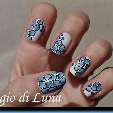Blue acrylic pebbles nail art by Tanja