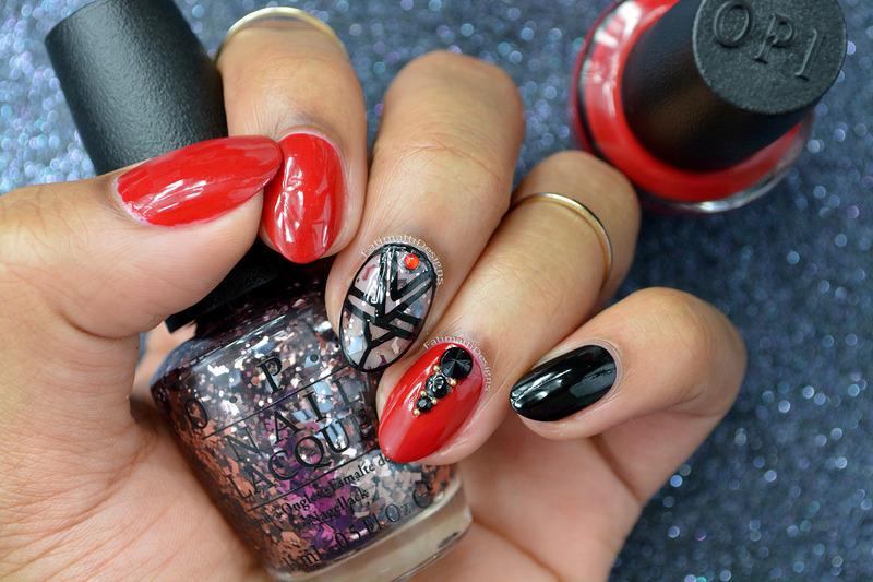 Holiday Glam nail art by Fatimah