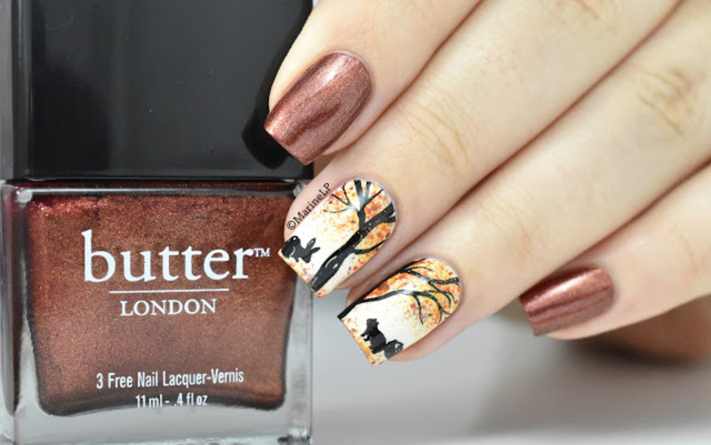 Fall in the forest nail art by Marine Loves Polish