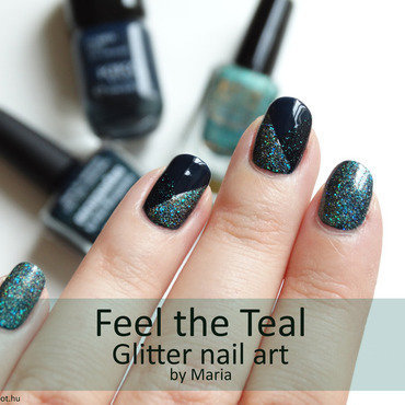 Feel the Teal  nail art by Maria