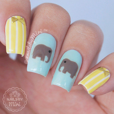 Cute Elephant Nails nail art by xNailsByMiri