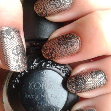 Chocolate in lace dress nail art by Jájis