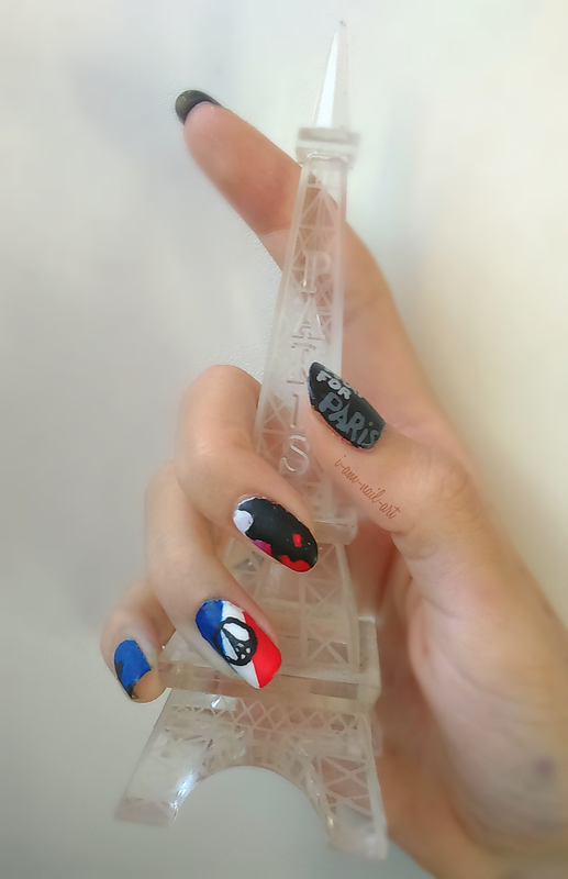 Pray For Paris nail art by i-am-nail-art