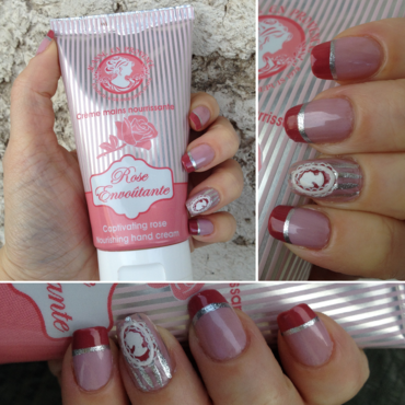 Rose Cameo nail art by Rox