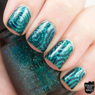 Teal monochrome glitter pattern nail art 4 thumb370f