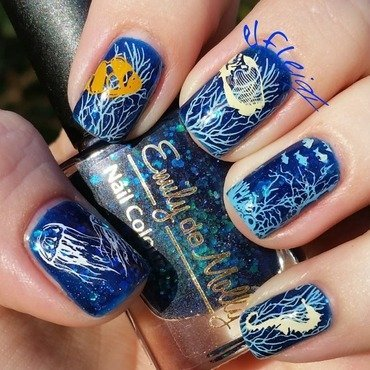 Under the sea nail art by Jenette Maitland-Tomblin