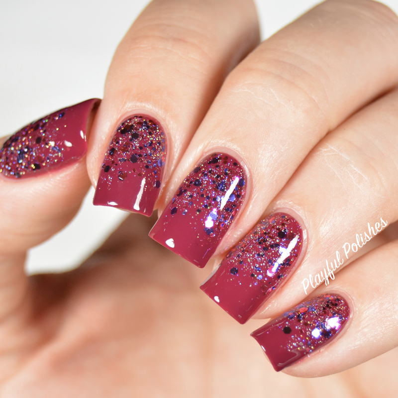 Holiday Glitter Gradient nail art by Playful Polishes