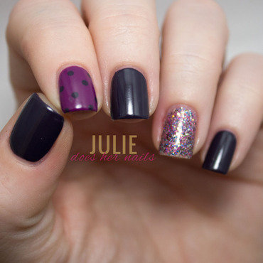 Navy and Purple nail art by Julie
