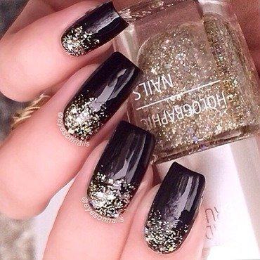 Glitter gradient  nail art by Virginia