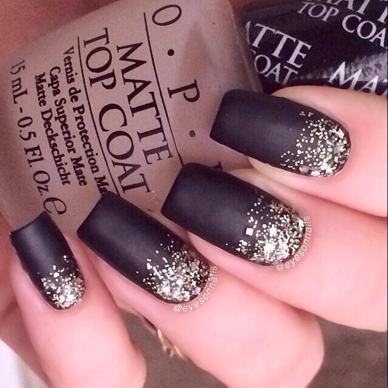 Matte glitter  nail art by Virginia