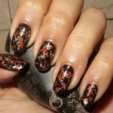 Rotting Pumpkins nail art by DeadCellCanvases