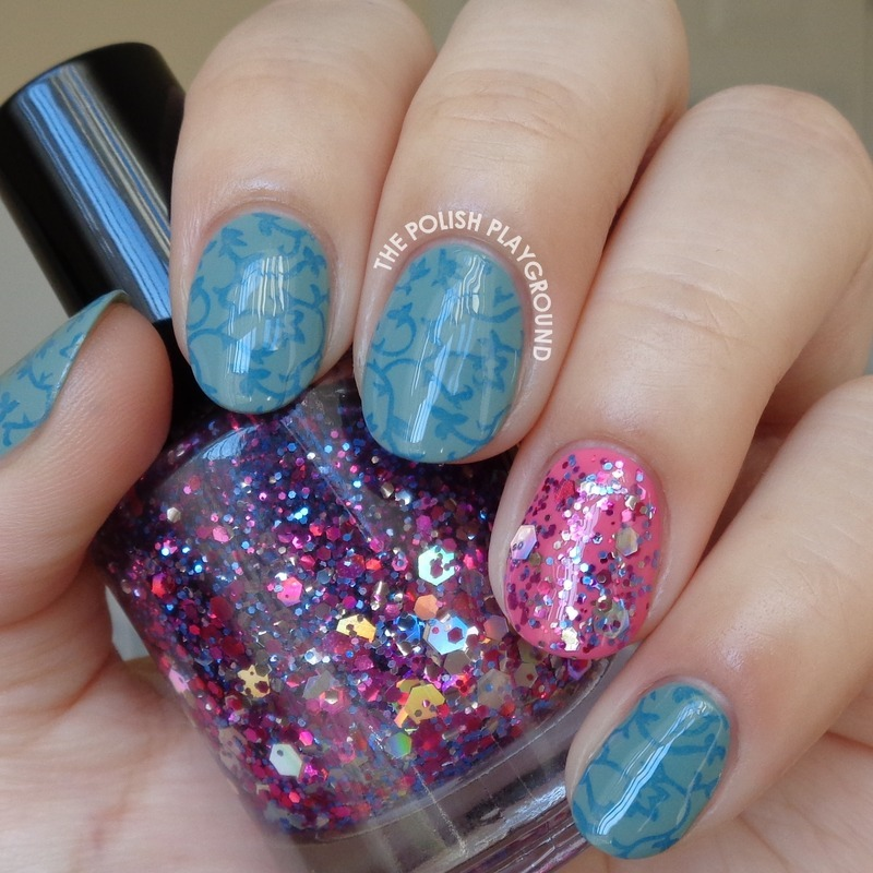 Blue Floral Vines Stamping with Glitter Accent nail art by Lisa N
