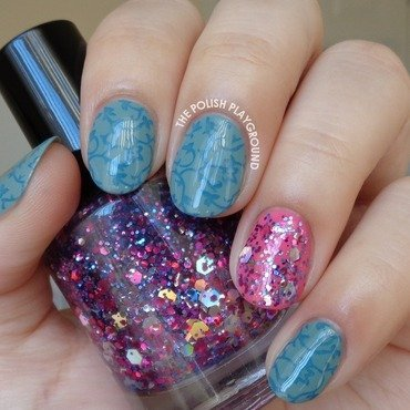 Blue 20floral 20vines 20stamping 20with 20glitter 20accent 20nail 20art thumb370f