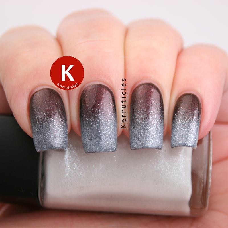 Autumn to winter gradient nail art by Claire Kerr