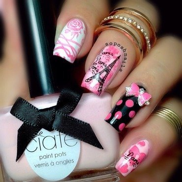 From Paris with Love nail art by Debbie
