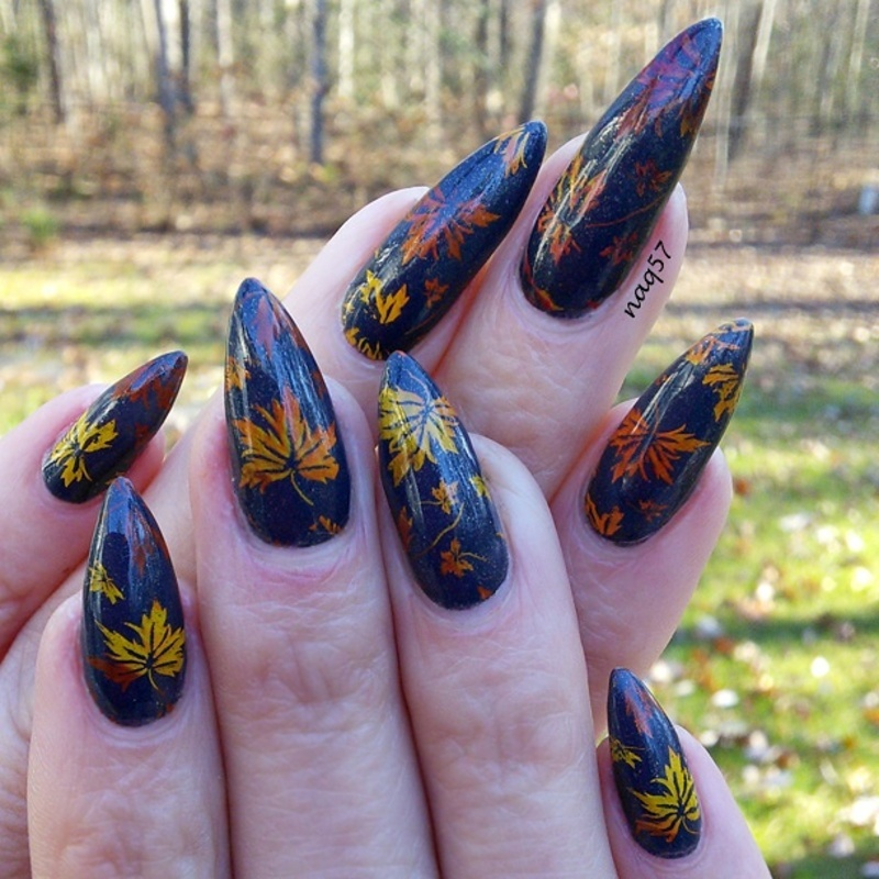 Dual Color Autumn Leaves nail art by Nora (naq57)